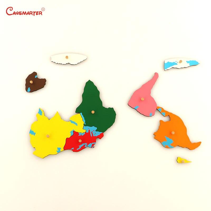 Цветные части пазлов мира Монтессори карты с ручкой игры география детская деревянная доска игрушки Обучающие 3D головоломки GE011 - 6