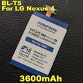 New Arrivals BL-T5 3600mAh For LG Nexus 4 Battery E975 E973 E960 F180 LS970 Optimus G E970 for google Nexus 4 Battery BL T5