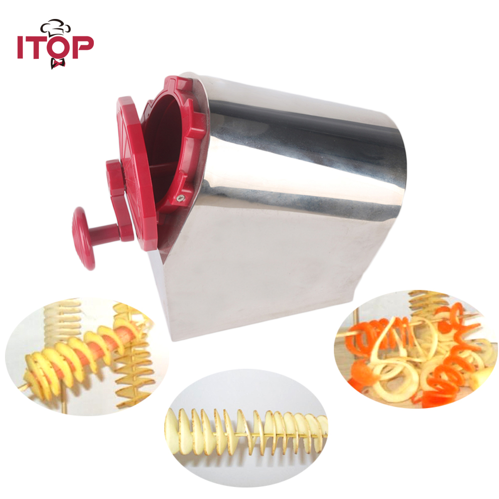 все цены на ITOP Free Shipping Stainless Steel Manual Twisted Potato Slicer Spiral Potato Slicer Cutter 3 in 1 Tornado Cutting Machine