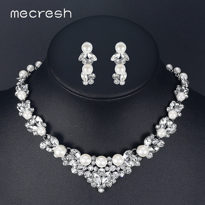 Mecresh Elegant Simulated Pearl Bridal Jewelry Sets Silver Color Leaf Crystal Necklaces Earrings Sets Wedding Jewelry TL280 gzjy gorgeous simulated pearl bridal jewelry sets crystal gold color flower necklace earrings sets wedding jewelry