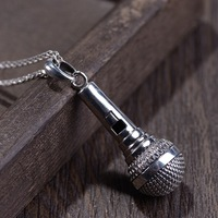 S925 Sterling Silver Retro Craft Men's Simple Microphone Microphone Pendant D345