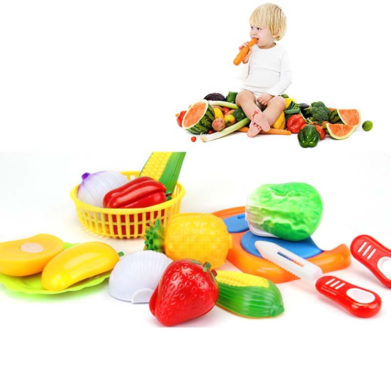 12 pz set bambini cucina giocattolo di plastica frutta verdura cibo taglio giochi di imitazione precoce