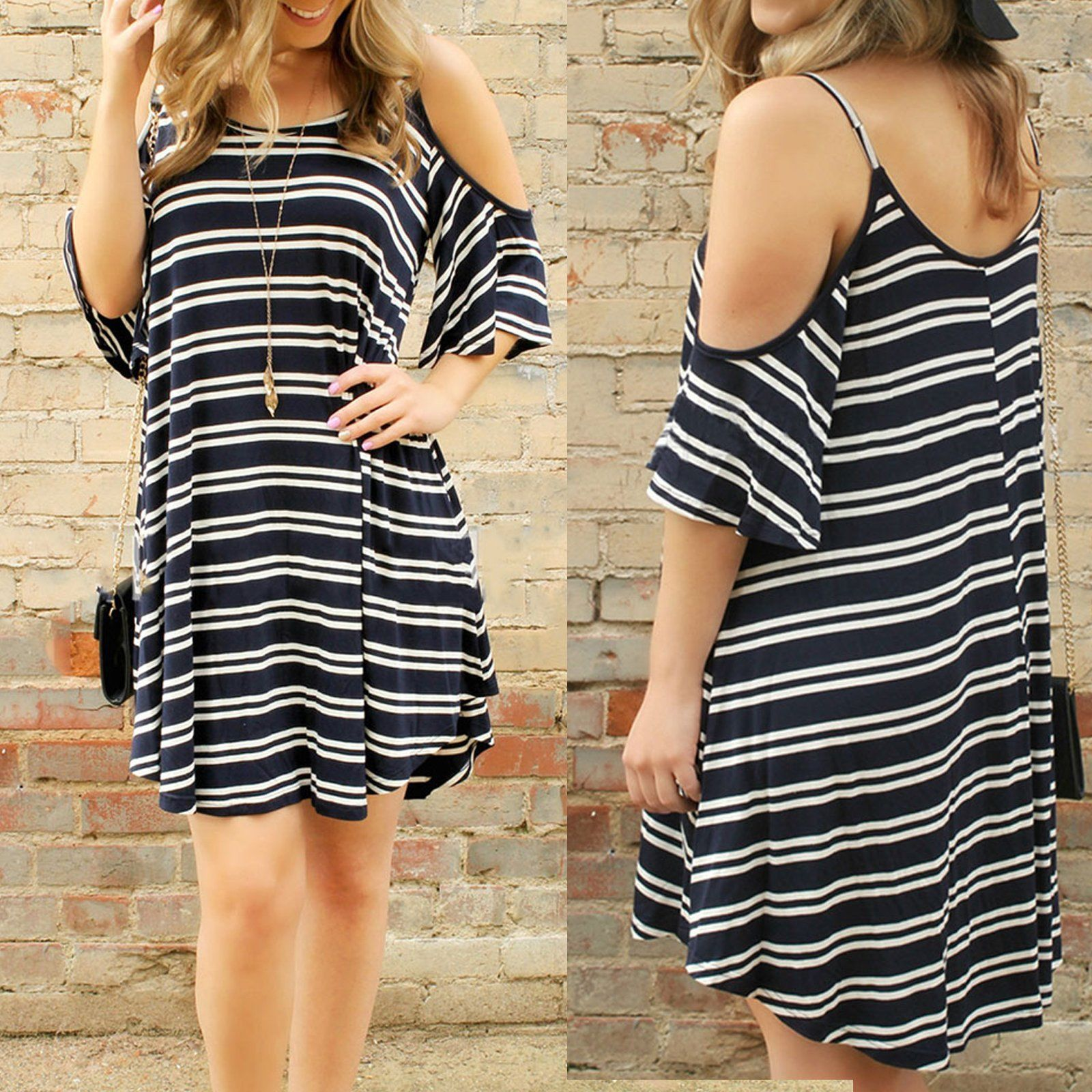 Women Sexy striped Strap dress loose Casual Beach Dress Black plus size  women clothing d95788175201