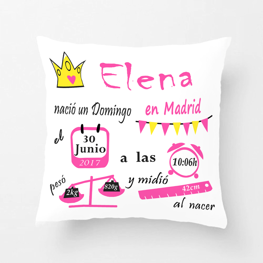 Customized With Birthday Baby Girl Cushion Birth Data Crown Pattern Pillow Decorative Cushion Cover Pillow Case Customize Gift