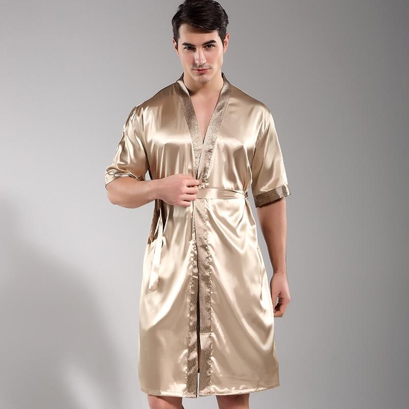 Chinese Men Sleepwear Satin Rayon Nightwear Casual Male Robe Bathrobe Kimono Gown Printed Flower Intimate Lingerie Nightgown