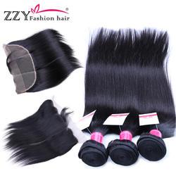 ZZY Fashion Волосы Кружева Фронтальная застежка с пучками прямые человеческие волосы пучки с закрытием кружева не реми волосы