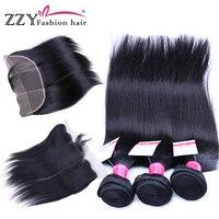 Модные волосы на кружевном фронтальном закрытии с пучками прямые человеческие волосы пучки с закрытием шнурка не реми волосы