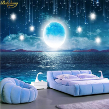 beibehang custom Bright moon night starry wallpaper home decor landscape wallpapers for living room 3D mural photo wall paper 3d wall mural wall paper natural scenery peaceful night forest moon custom 3d room landscape photo wallpaper window view bedroom