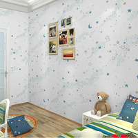 Environmental Protection PVC Wallpaper Children S Bedroom Boys And Girls Cartoon 3D Star Sky Fluorescent Ceiling