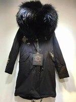 Новый дизайн бисером армия зеленый/черный мех парка с капюшоном mr меха куртка с Mrs енота меховым воротником пальто