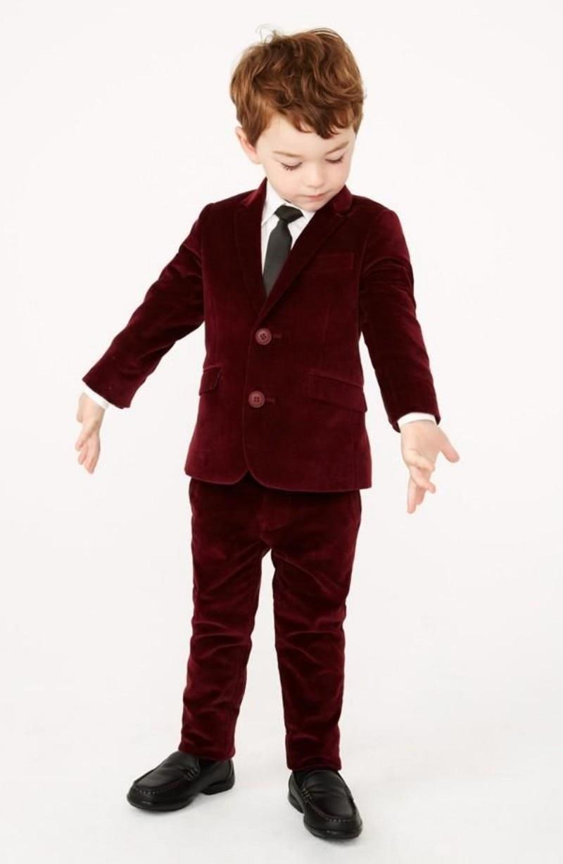 Custom Made Winter Burgundy Red Tuexdo Suit Kids Boys ...