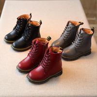 Venta caliente de Los Niños de cuero Genuino Martin botas de Cordones de zapatos Otoño Invierno Niños Nieve botas impermeables Niños Niñas Tobillo botas