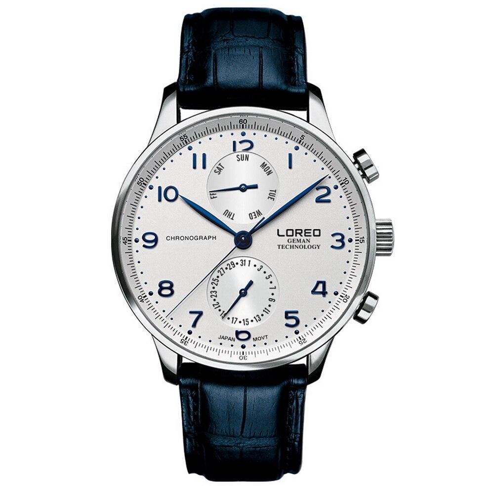 LOREO Mens ชุดมัลติฟังก์ชั่นาฬิกาหนังธุรกิจนาฬิกาข้อมือควอตซ์สัปดาห์, วันที่-ใน นาฬิกาควอตซ์ จาก นาฬิกาข้อมือ บน   1