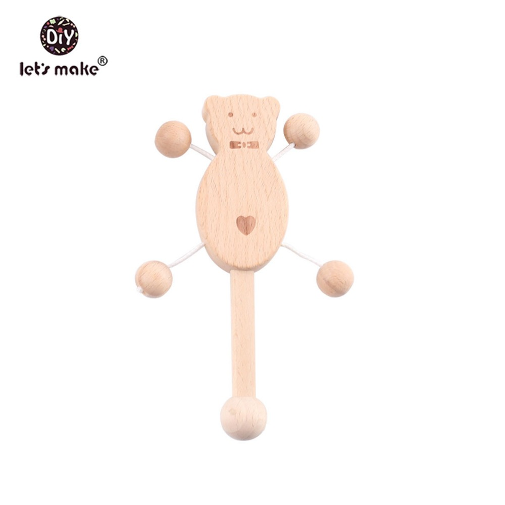 Купить с кэшбэком Let's Make Baby Teether 1set/5pc Wood Rattle Food Grade Wooden Teether Baby Products Montessori Teething Toys For Children Gift