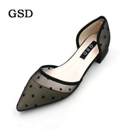 Women Shoes Pointed Toe Ladies Flat Shoes Office Lady Shoes Polka Dot Mesh Breathable Women's D'Orsay Flats zapatos mujer