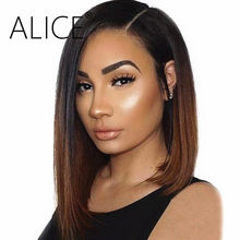 ALICE Lace Front Bob Wigs Ombre Color Remy Straight Lace Wig Glueless 130% 13x4 Pre Plucked Short Lace Front Human Hair Wig(China)