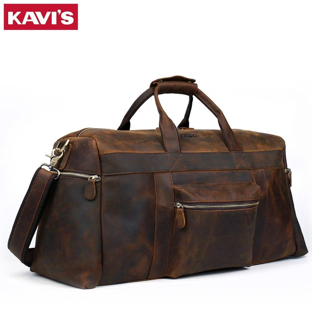 КАВИС Crazy Horse пояса из натуральной кожи дорожная сумка для мужчин Дорожная сумка для путешествий большой телячья кожа Carry On багаж, для отпуск