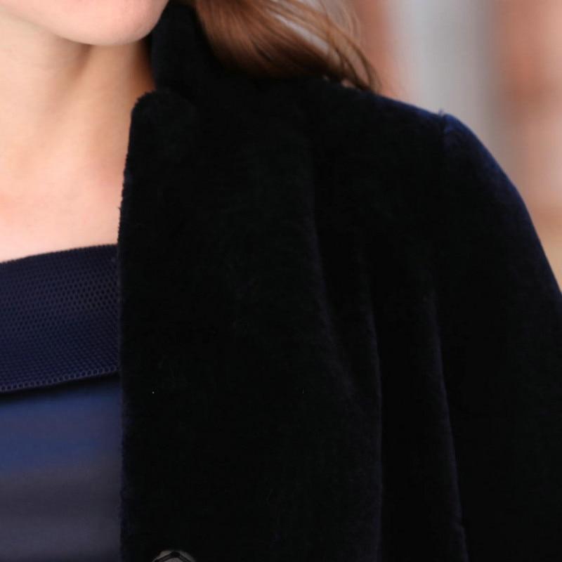 Blue D'hiver Fourrure Broderie Naturel Mode Des Manteaux Tonte Wyq872 marine Réel Manteau noir Laine Vestes Moutons Bleu De Long Dark Ayunsue Veste 2019 Chaud Femmes q1wfntP