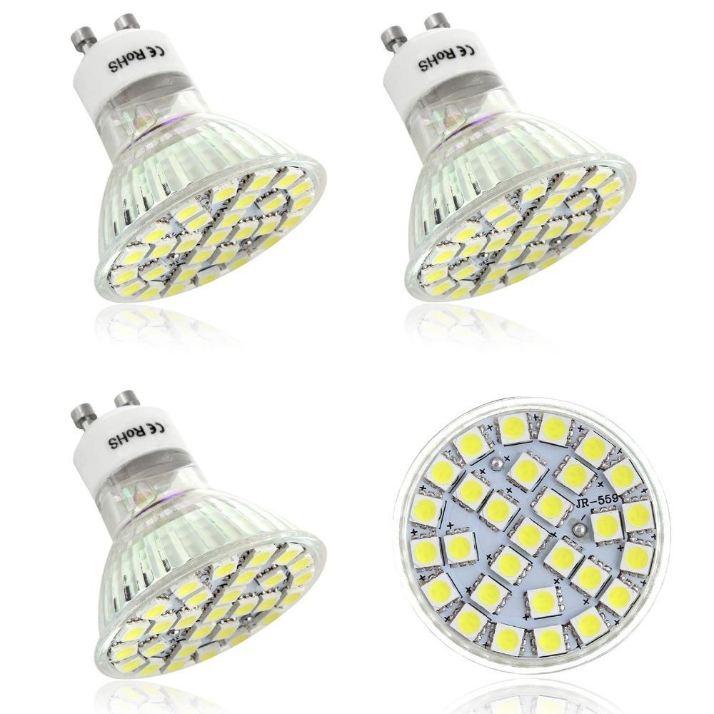 4 x gu10 6w 5050led ampoule led 29smd lampe ampoule led blanc froid 220v 240v free shipping led