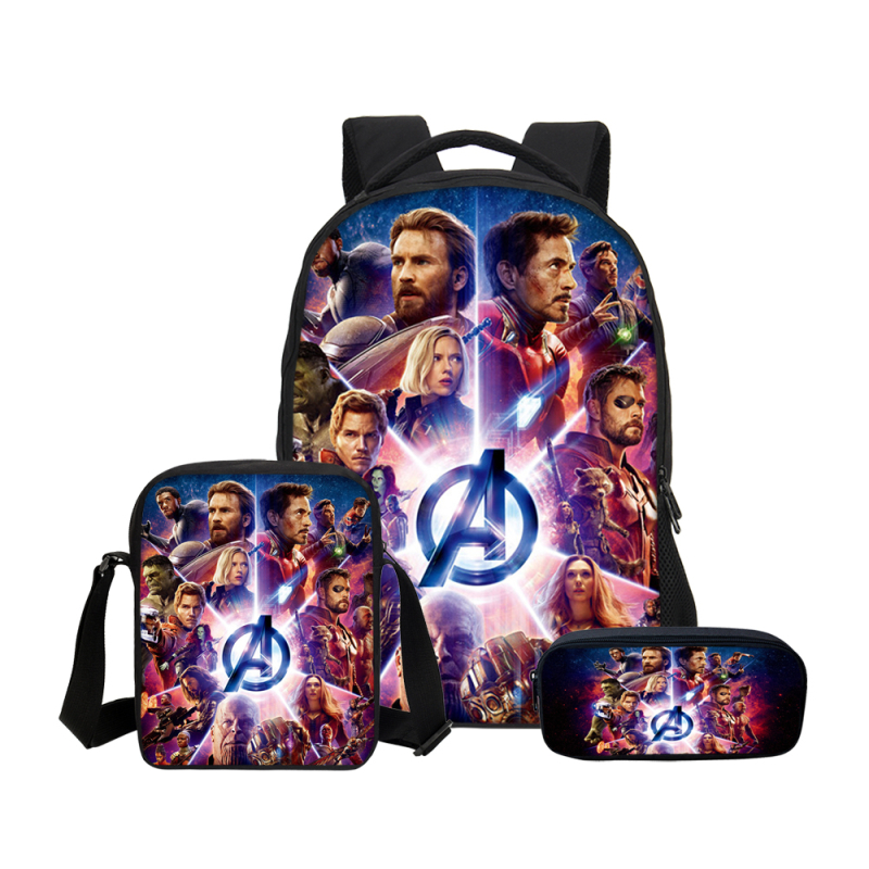 VEEVANV 3PCS/SET Backpacks For Boys Girls School Bookbag Fashion Avengers Infinity War Super Hero Captain America Prints 3D Bag