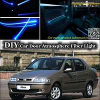 For Fiat Albea / Siena interior Ambient Light Tuning Atmosphere Fiber Optic Band Lights Inside Door Panel illumination Refit