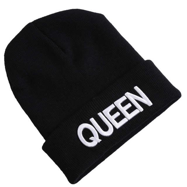 38b5e9b5548e King Queen Beanie Winter Hats Cap Men Women Stocking Hat Beanies Knitted  Hiphop Hat Female Couple Warm Winter Cap BLACK-in Skullies & Beanies from  Apparel ...