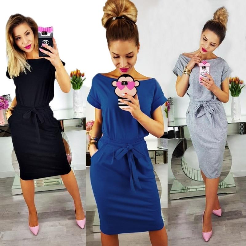 2018 neue Sommer Mode Frauen Beiläufige Kurze Hülse O-ansatz Gerade Schwarz Grau Blau Kleid Lose Plus Größe Tasche Baumwolle Midi kleid