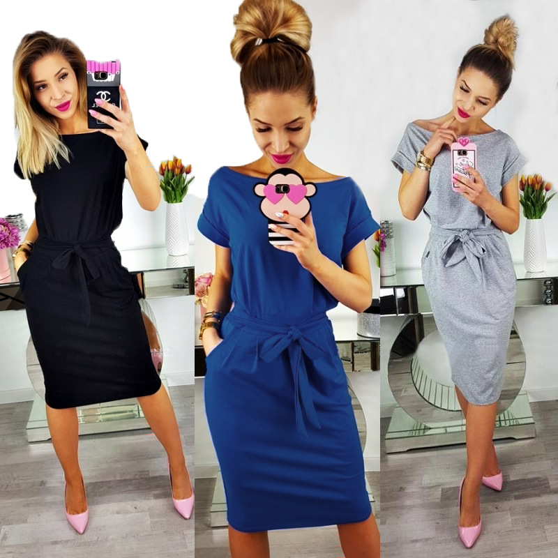 2018 nueva moda verano mujeres Casual manga corta o-cuello recto negro vestido azul gris bolsillo suelta más algodón vestido