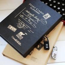 Бесплатная Доставка Модные Винтажные дневник с замком коробку ноутбук фиксатора Блокнот записная книжка организатор планировщик с замком ноутбук