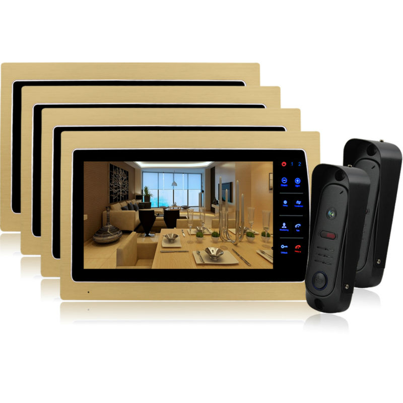 Homefong 10 Inch LCD Night Vision Home Video Door Phone Camera Intercom Doorphone Doorbell System CMOS camera HD 1200tvl 2V4 homefong 7 tft lcd hd door bell with camera home security monitor wire video door phone doorbell intercom system 1200 tvl