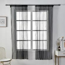 Curtain Sheer-Fabrics Living-Room Voile Perforating Cortinas Window Gray Modern Rideaux