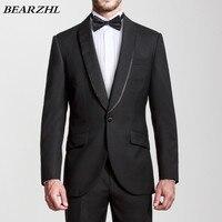 Свадебные костюмы черный цвет, для мужчин изготовление под заказ костюм Высокое качество шерсти кровоточить 70% шерсть смокинг жениха одна к...