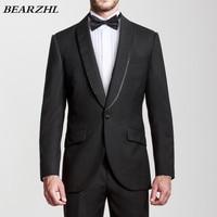 Свадебные костюмы черный цвет, для мужчин изготовление под заказ костюм высокого качества шерсти кровоточить 70% шерсть смокинг жениха одна