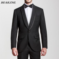 wedding suits men black custom made suit high quality wool bleed 70% wool groom tuxedo one button shawl collar