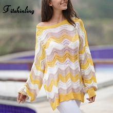 Fitshinling Striped Yellow Ladies Sweater 2019 Autumn New Korean Style Women Sweaters And Pullovers Thin Knit Jumper Pull Femme