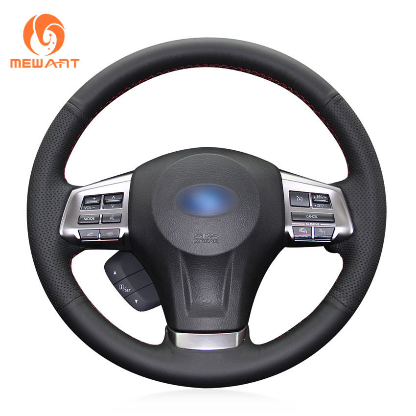 MEWANT Black Genuine Leather Steering Wheel Cover for Subaru Forester 2013-2015 Legacy 2013-2014 Outback 2013-2014 XV 2013-2015 2013