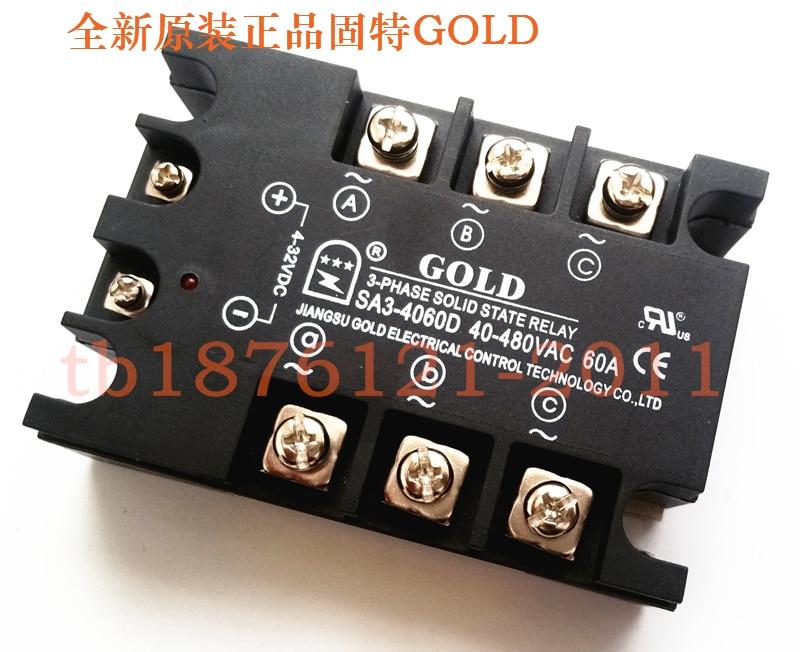 Three Phase Solid State Relay SA34060D DC Controlled AC 60A SA3-4060D new and original sa340100d sa3 40100d gold three phase solid state relay 480vac 100a