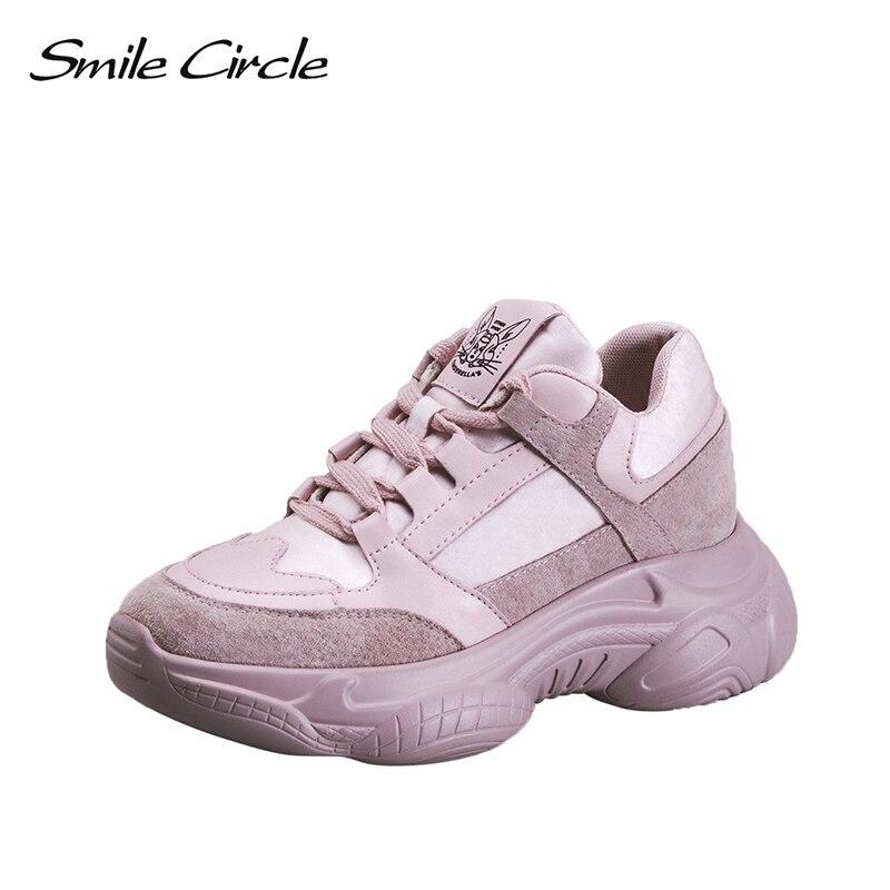ابتسامة دائرة 2019 الربيع النساء حذاء رياضة جلد طبيعي أزياء مريحة شقة أحذية منصة عارضة أحذية السيدات-في أحذية مطاطية نسائية من أحذية على  مجموعة 1