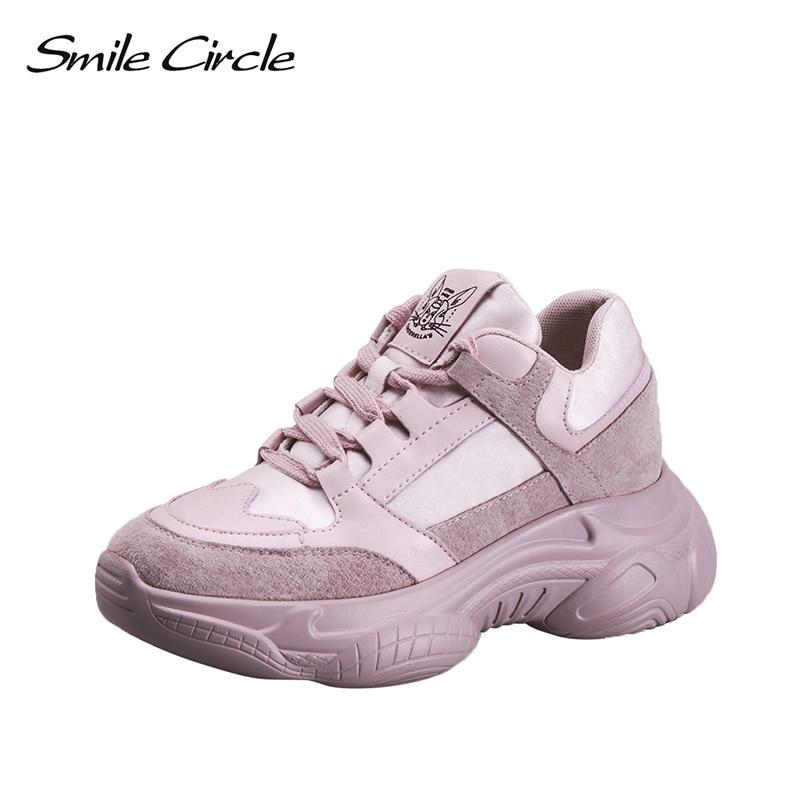 Uśmiech koło 2019 wiosna kobiet Sneakers prawdziwej skóry mody wygodne płaskie buty na koturnie na co dzień panie buty w Damskie buty z gumową podeszwą od Buty na  Grupa 1