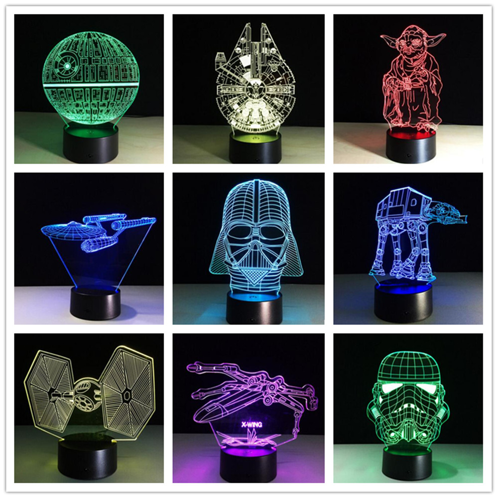 Multiple Stars Wars LED 3D Night light Creative Ambient Light Desk lamp Home Lighting Bulbing Colors Change Luminaria Kids Gifts 3d led usb wooden night table lamp desk light modern luminaria de mesa acrylic kid bedroom bulbing creative gift abajur 110 240v