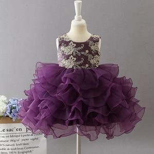 Image 5 - Yeni stil bebek yıldönümü doğum günü partisi ziyafet işlemeli elbise çiçek kız prenses ilk dans performans elbise