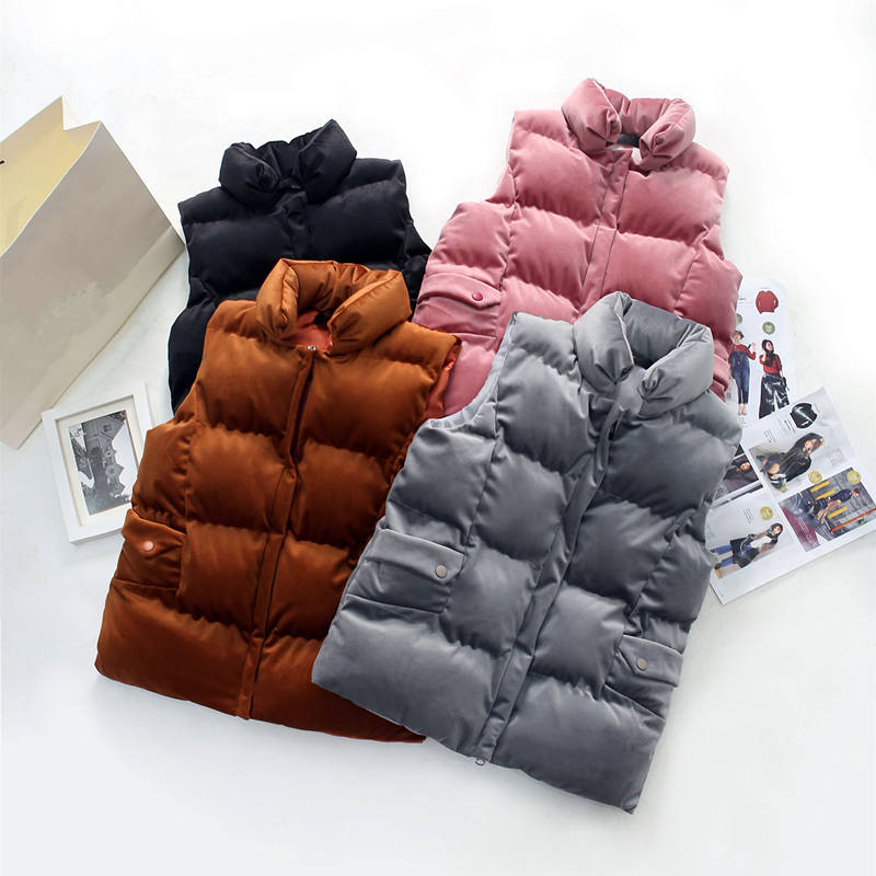 Autumn Winter Short Gold Velvet Vest Women Thick Sleeveless Down Cotton Vest Waistcoat Bread Coat Women