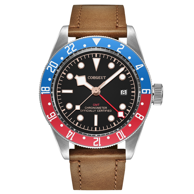 Corgeut 41mm Mens Automatic Watch Blue Red Rotatable Bezel Red GMT Hand Clock Sapphire Glass Brown Strap Watches CA2031RLRCorgeut 41mm Mens Automatic Watch Blue Red Rotatable Bezel Red GMT Hand Clock Sapphire Glass Brown Strap Watches CA2031RLR