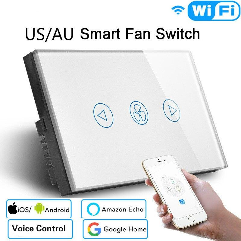 Module d'automatisation intelligente WiFi US/AU commutateur de ventilateur de plafond minuterie à distance et contrôle de vitesse Compatible avec Alexa et Google Home