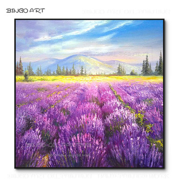 Professional Artist Hand-painted High Quality Pop Art lavender Landscape Oil Painting on Canvas Beauty Purple lavender Painting