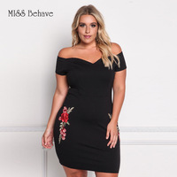Plus Size Womens Embroidery Elegant Dobby Fabric Embroidered Pencil Sleeveless Off The Shoulder Bodycon Evening Party