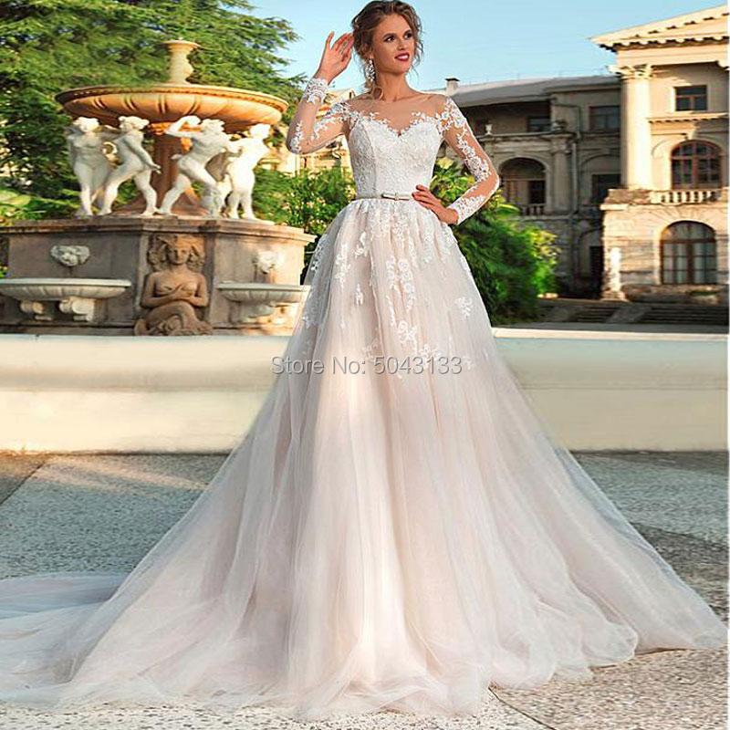 Sexy Illusion Scoop Neck Lace Applique Long Sleeve Wedding Dresses 2020 A Line Formal Wedding Bridal Dress With Sash Corset Back