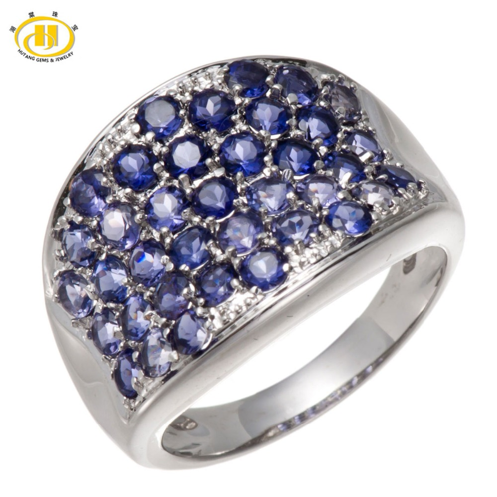 Hutang Natural Iolite Gemstone Solid 925 Sterling Silver Cluster Ring Fine Jewelry Birthday Gift