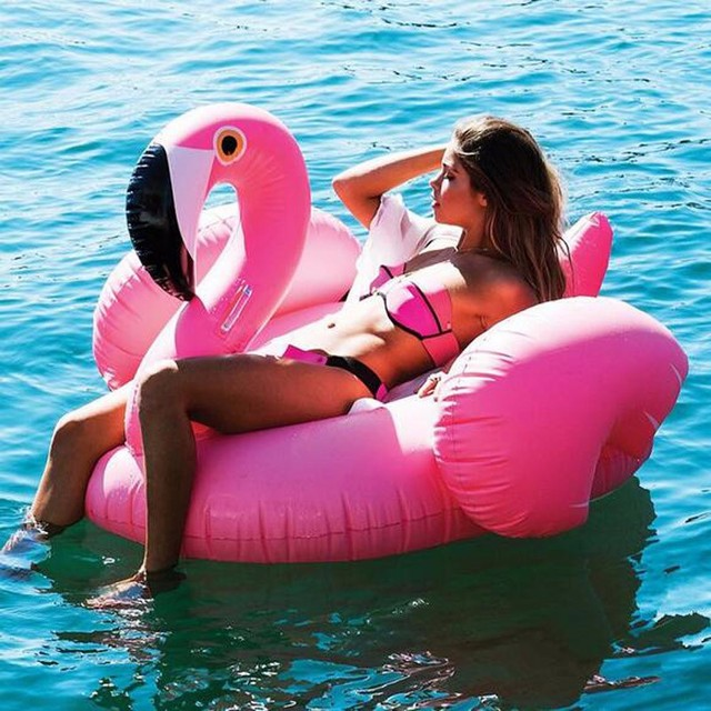 150CM 60 Inch Giant Inflatable Flamingo Pool Float Pink Ride-On Swimming Ring Adults Children Water Holiday Party Toys Piscina