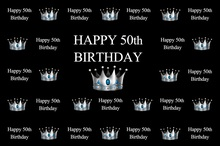 Laeacco Happy 50th Birthday Sliver Crown Scenic Party Photography Backgrounds Customized Photographic Backdrops For Photo Studio
